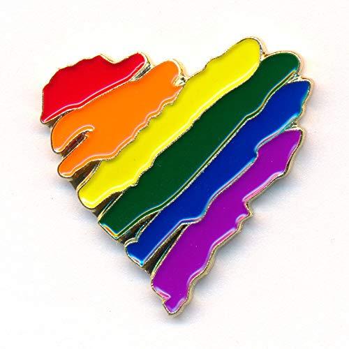 Regenbogen Liebe Love Herz LGBT Pride Edel Metall Button Pin Anstecker 0945