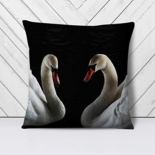 Big Box Art Cushion and Cover - Two White Swans (2) - Single Square Throw Pillow - Soft Faux Suede Material - Double-sided - 40x40 cm