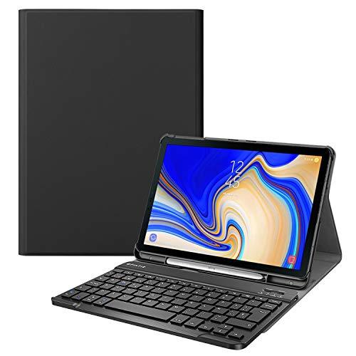 Fintie Funda con Teclado Español Ñ para Samsung Galaxy Tab S4 10.5 (SM-T830/T835/T837) - Carcasa con Portalápiz para S Pen y Teclado Inalámbrico Magnético Desmontable, Negro