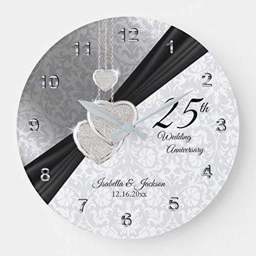 Reloj de pared Promini de 25 aniversario de boda de plata, silencioso,