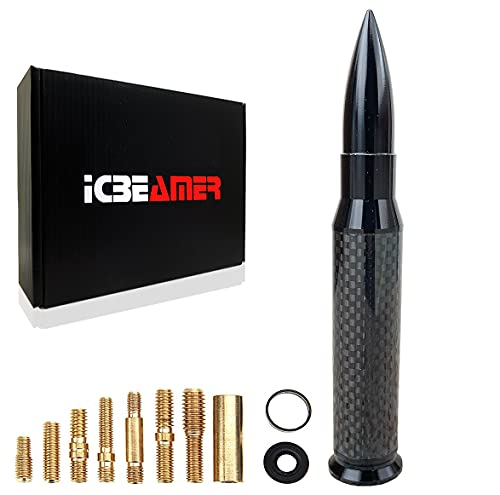 ICBEAMER 50 Cal Bullet Automotive Antenna Universal Fit Truck Van Cars Made with 6061 Solid [Matte Black] Aluminum with Real Carbon Fiber Anti Theft Anti Chip Design Universal Fit good for AM/FM Radio