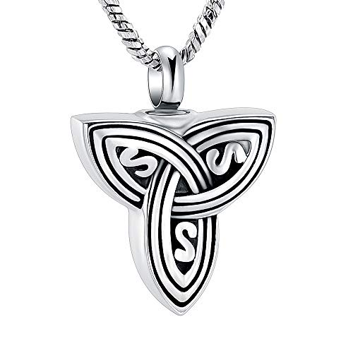 Yinplsmemory Cremation Jewelry for Ashes Celtic Knot Vintage Triangle Knot Urn Pendant Necklace for Ashes Keepsake Memorial Jewelry for Men Women