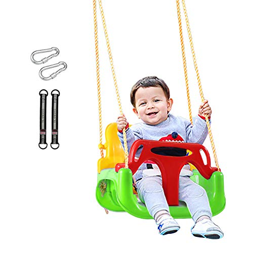 REDCAMP 3 in 1 Toddler Swing for Outside Tree, Sturdy Secure Plastic Outdoor Infants Baby Swing Seat for Swingset Playground Inside (Green)