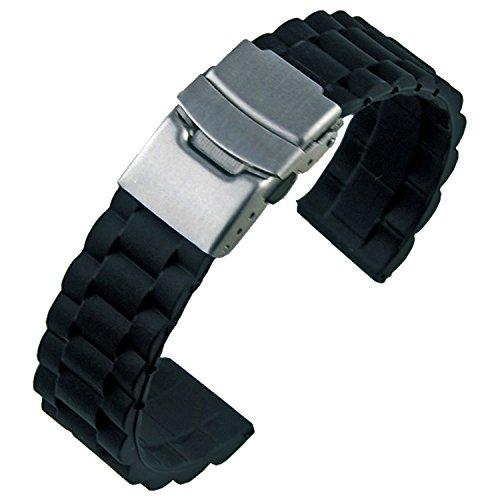 Orologio da polso uomo silicone nero gomma impermeabile chiusura di distribuzione 20mm