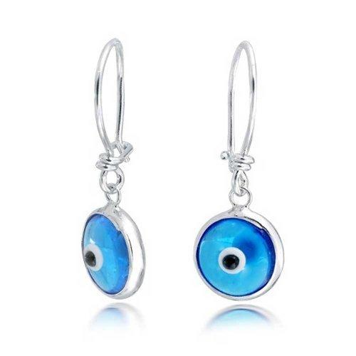 Blau Nazar Böser Blick Spirituellen Schutz Runde Ohrringe Leverback Für Damen Jugendlich Aus Muranoglas 925 Silber