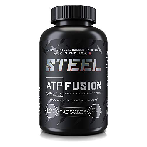 Steel Supplements ATP-Fusion Creatine Monohydrate Capsules Workout Supplement Pills No Bloat Faster Recovery Time 60 Servings