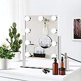 Specchio per il trucco illuminato da Hollywood con ricarica USB, luce tattile regolabile con 9 lampadine a LED, specchio cosmetico regolabile in 3 colori, (freddo / caldo / naturale), girevole a 360 °