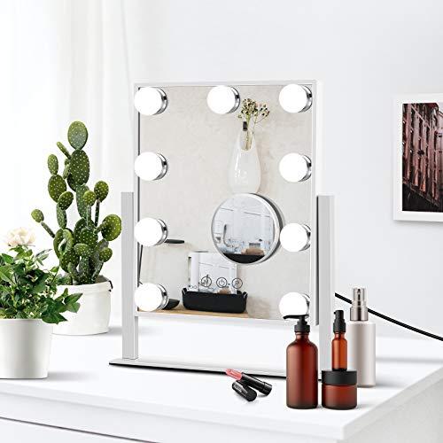 Espejo de maquillaje iluminado Hollywood con carga USB, luz táctil ajustable con 9 bombillas LED, espejo cosmético ajustable de 3 colores, (frío / caliente / natural), giro de 360 °