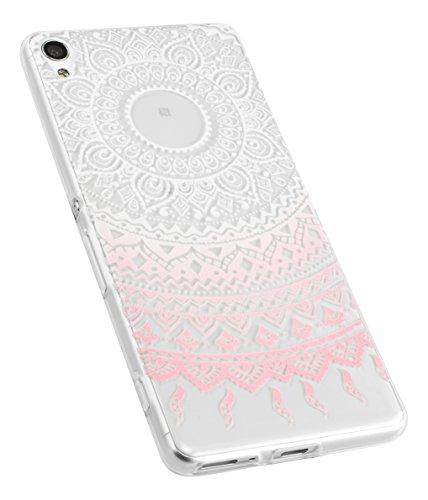mumbi Funda Compatible con Sony Xperia XA Caja del teléfono móvil Slim Mince Avec Motif Mandala, Rosa trransparente
