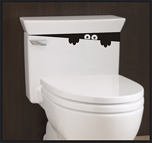 """Sticker Connection   Toilet Monster Bathroom Decal   Sticker Funny Kids Vinyl Decal Potty Training   2""""x12"""" (Black)"""