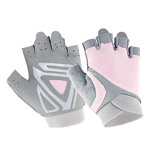 MIS1950s Half Finger Sport Gloves,Cycling Mountain Road Bike Racing Bicycle Gloves,Anti-Slip Breathable Wheelchair Exercise Gym Fitness Gloves for Men Women (M, Pink-Gray)