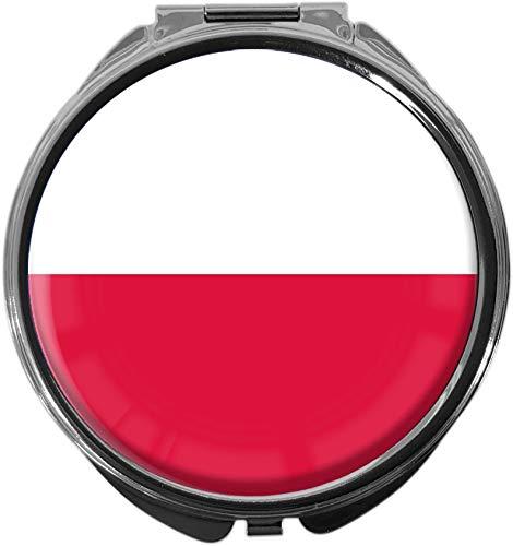 metALUm Pillendose mit Spiegel rund Metall 3 Fächer FLAGGE POLEN #0039