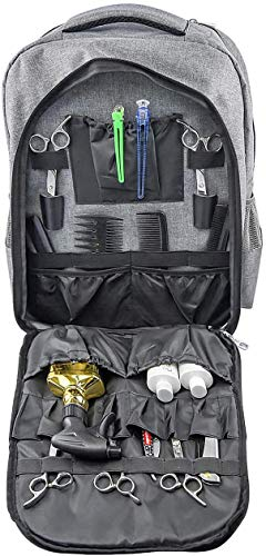 Barber Backpack /Hair Clipper Storage Bag, Portable Barber Shop Makeup Tool Storage Bag-multifunctional Waterproof Backpack for Accommodate Hair Dryer, Hair Straightener, Sprayer(Gray)