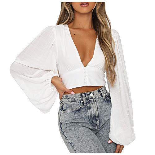 URIBAKY - Blusa sexy para mujer con cuello en V profundo, con mangas de color liso blanco XL