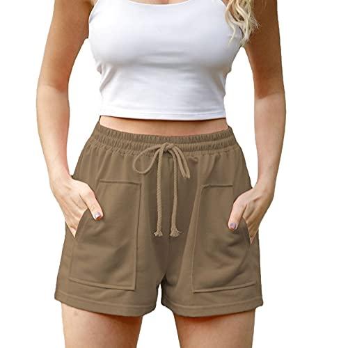 N\P Women's Loose Large Sports Casual Shorts Khaki