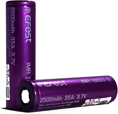 EFEST 2.5K mah 35A IMR Batteria singola piatta ad alto drenaggio (2 in un pacchetto) per Starter Kit sigaretta elettronica e MOD Senza Nicotina