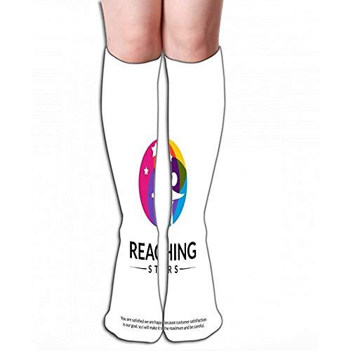 NGMADOIAN hoge sokken kous bereiken sterren logo design sjabloon droomster embleem kleurrijk creatief symbool natuur, tegellengte 19,7 inch (50cm)