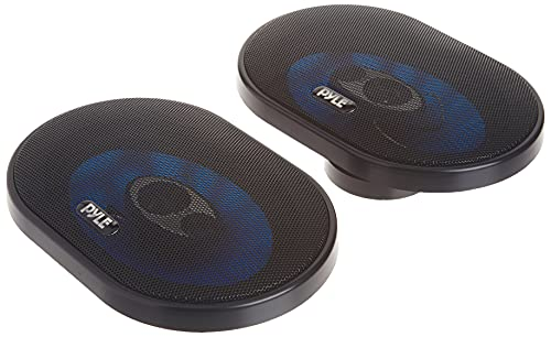 """6"""" x 8"""" Car Sound Speaker (Pair) - Upgraded Blue Poly Injection Cone 3-Way..."""