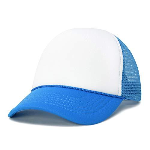 DALIX Neon Trucker Caps Adjustable Snapback Hat (Neon Blue/White)
