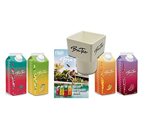 CAPITAL BRA BraTee 4er Tasting Set Eistee je 750ml + Gratis Getränkehalter + Autogrammkarte BRATEE Ice tea Wassermelone Zitrone Pfirsich Granatapfel - mit Capi-Qualitäts-Siegel - Du weisst Bescheid
