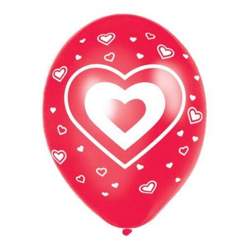 Rode ballonnen hart en hartjes pak van 6