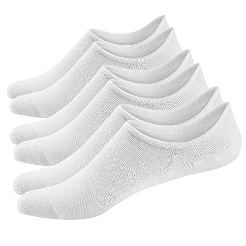 Ueither 3 o 6 Pares Calcetines Invisibles Mujer De Algodón Calcetines Cortos Elástco Con Silicona Antideslizante (36-43, 3 Pares Blanco)