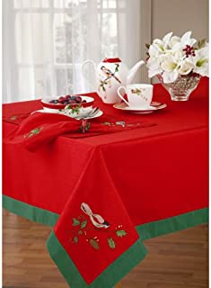 Lenox Winter Song 60-Inch by 102-Inch Oblong/Rectangle Embroidery Tablecloth, Red