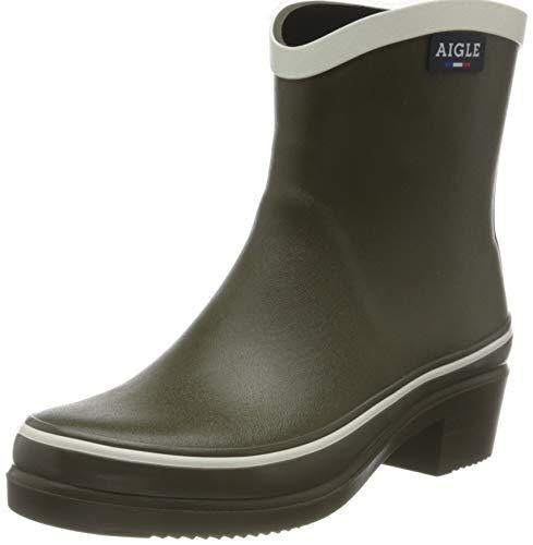 Aigle Women's Miss Juliette Pop Rain Boot, Khaki White, 6.5 UK