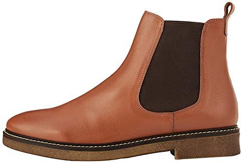 Amazon-Marke: find. Damen Chelsea Boots aus Glattleder, mit Kreppsohle, Braun Brandy (Tan), 38 EU