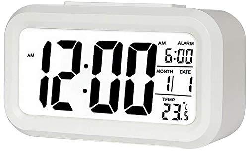 Digitaler Wecker, DM-LED-Display, Schlummerfunktion, aktiviertes Nachtlicht mit Datum, Kalender, Temperatur für Schlafzimmer, Zuhause, Büro und Küche (weiß)