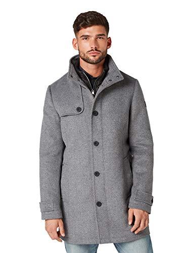 Tom Tailor - Abrigo de lana para hombre Mid Grey Structure - Chaqueta de lana XXXL