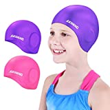 Aegend 2 Pack Swim Cap Kids (Age 2-10), Waterproof Silicone Swimming Caps for Kids Cover Ears, Comfortable Fit for Long Hair & Short Hair, 3D Ergonomic Fit for Girls and Boys, Pink&Purple