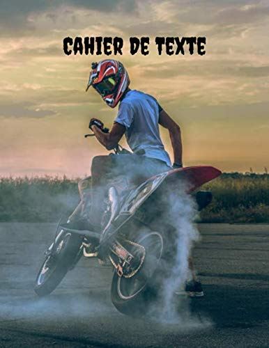 Cahier De Texte: Thème moto cross pour la rentrée Scolaire   cahier de devoir   format pratique pour les cartables. Taille 21.59 x 27.94 cm 121 Pages