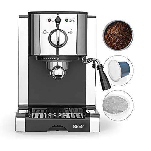 BEEM Espresso Perfect | Espresso-Siebträgermaschine mit Kapseleinsatz für Nespresso Kapseln | Milchschaumdüse | Geeignet für Kaffeepulver, Pads, Cappuccino, Latte Macchiato [20 bar, Edelstahl]