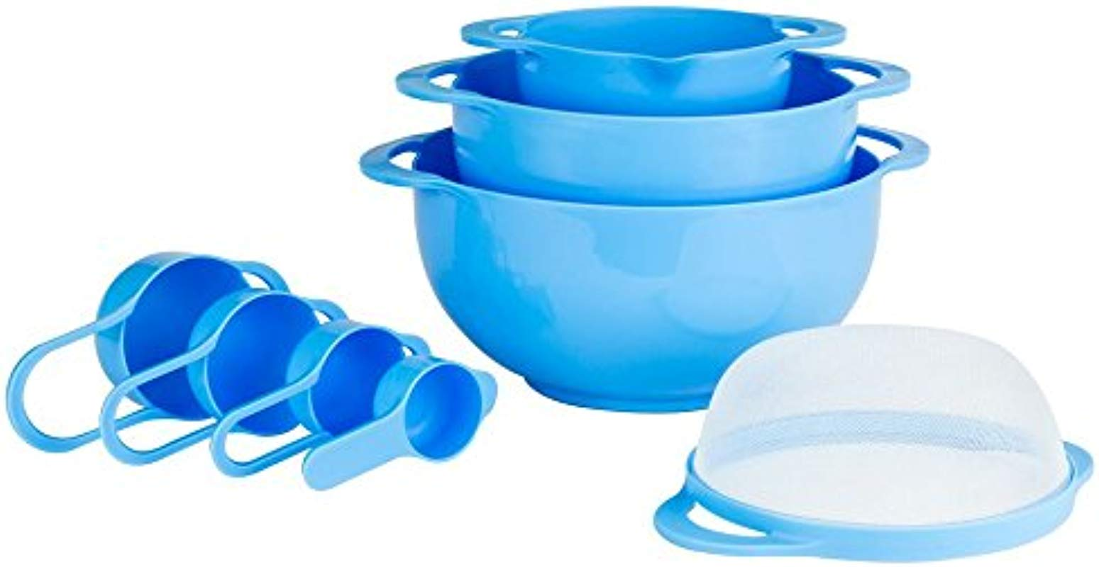 Set Of 8 Compact Nesting Mixing Bowl Set Measuring Tools Sieve Colander Food Prep Plastic Dishwasher Safe Non Slip 8 Piece By Intriom Blue
