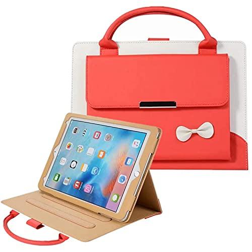 LGQ Bonita Funda Protectora, Elegante Soporte De Cuero para Bolso Ultrafino, con Función De Despertador/Reposo Automático, Adecuado para iPad Pro 12.9 2021 2020 2018 5/4 / 3 Generación,Rojo