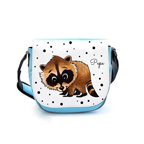 ilka parey wandtattoo-welt Kindergartentasche Kindertasche Tasche Waschbär mit Punkten kgt09 - ausgewählte Taschenfarbe: hellblau