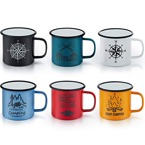 Enamel Camping Mug Set of 6, E-far 16 Ounce Colourful Metal Enamel Coffee Tea Cups Mugs for Camping Hiking Backpacking, 2-Sided Unique Graphic Design & Large Size