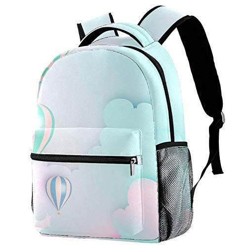 Mochila Escolar Globo De Aire Caliente De Dibujos Animados Romance Backpack Portátil Daypack Impermeable Bolso Escuela para Niños y Niñas 29.4x20x40cm