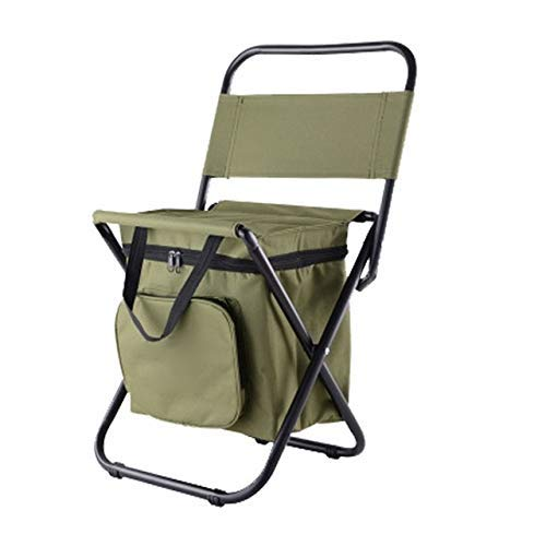 Folding camping chair Multifunctional Outdoor Folding Stool Portable Ice Bag Stool with Insulation Bag Fishing Stool Beach Chair Lightweight Stool outdoor seat-ideal (Color : Green) leilims