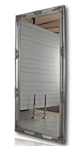 elbmöbel 162x72cm Wandspiegel groß in Silber antik mit Holz-Rahmen barock