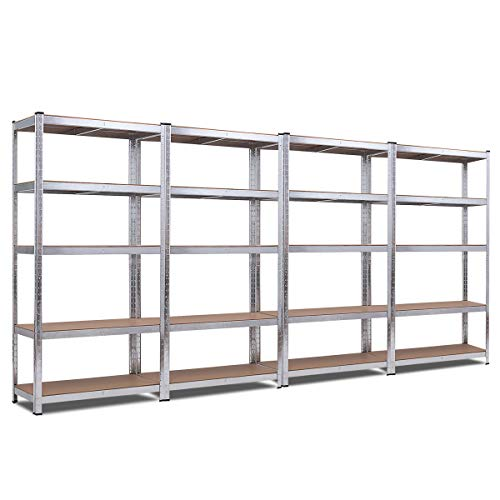 Giantex 4 Pcs 5-Tier Storage Shelves, Garage Shelving Units, Tool Utility Shelves, Heavy Duty Metal Racks Adjustable Height Space-Saving Organizer