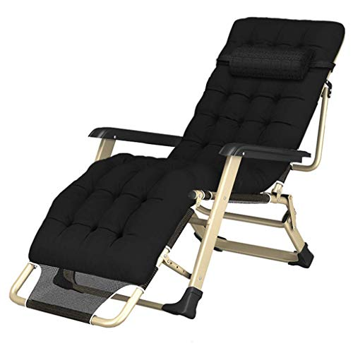 ZHJYD Household products Sun Lounger Recliner Chairs Heavy Duty s with Cushion | Garden Outdoor Patio Lounge Recliners | Folding Reclining Chairs Max.250kg- Black