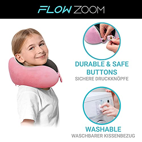 Nackenkissen Kinder von FLOWZOOM   Nackenhörnchen Kinder für zu Hause zum Lesen   Kinder-Reisekissen aus Memory Foam mit extra weichem Kissenbezug für Kids ab 5 J. - Comfy Kids Rosa