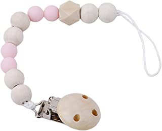eroute66 Lovely Wooden Beads Chain Infant Baby Soother Toy Teether Pacifier Clip Holder - Pink