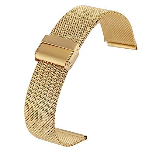ZJSXIA Correa de reloj de 18 mm, 20 mm, 22 mm, 24 mm, correa de malla de acero inoxidable con hebilla de gancho, correas de reloj (color: 24 mm, tamaño: oro)