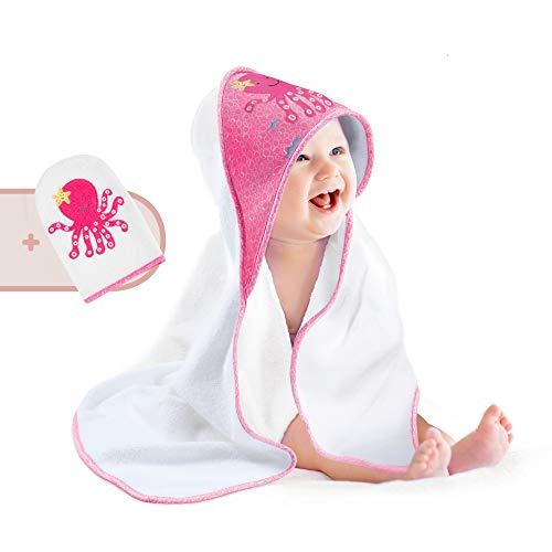 Pigubear® Premium Baby Kapuzenhandtuch und Waschlappen Set, ÖKOTEX, hochwertig in rosa bestickt für Mädchen, 100% Baumwolle, perfektes Geschenk zur Geburt