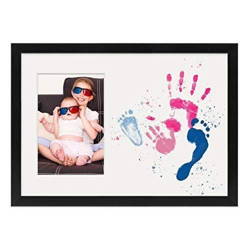 PHOTOLINI Collage-Bilderrahmen 21x30 cm/DIN A4 Schwarz mit Passepartout für 1 Bild 10x15 cm inkl. Fläche zum Selbst-Gestalten | Collagerahmen aus MDF mit Acrylglas