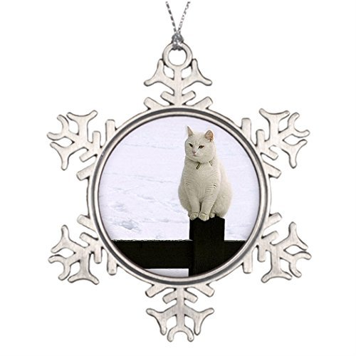 Cheyan Tree Branch Decoration Fence Best Christmas Snowflake Ornaments Black Fat White cat on a Black Fence