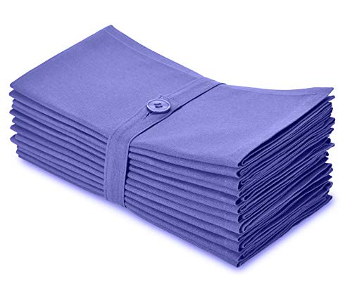 COTTON CRAFT - Napkins, 12 Pack Oversized Solid Colored Dinner Napkins 20x20 Lavender, 100% Cotton, Tailored with Mitered Corners and a Generous Hem, Napkins are 38% Larger Than Standard Size Napkins